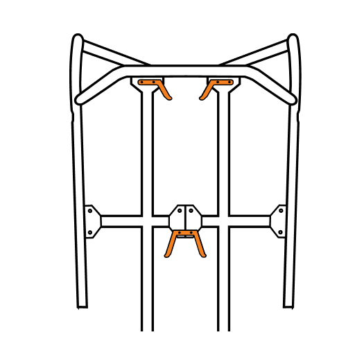 top view of the machine showing where brackets are installed